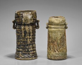 Two Antique Japanese Glazed Stoneware Vases