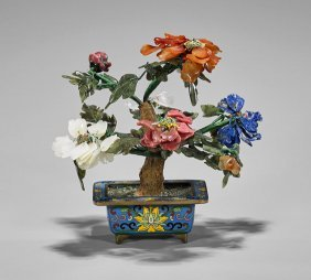 Chinese 'flowering Tree' & Cloisonné Pot