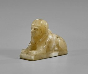 Egyptian-style Carved Alabaster Sphinx