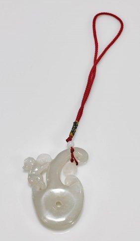 Chinese Carved White Jade/hardstone Pendant