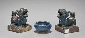 Three Jin-style Flambé Glazed Ceramics