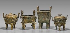 Four Archaistic Gilt Bronze Ritual Vessels