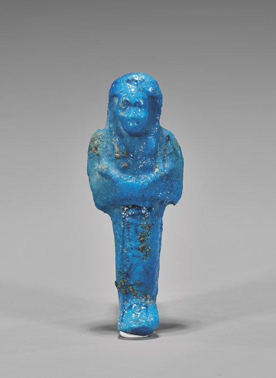 EGYPTIAN BRIGHT BLUE FAIENCE USHABTI