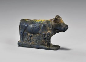 Egyptian Blue Glass Cow Goddess