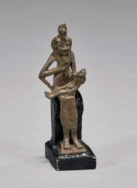 Egyptian Bronze Figure Of Isis & Horus