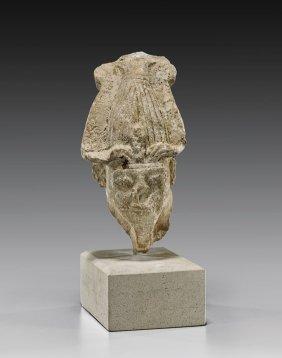 Egyptian Limestone Head Of Osiris