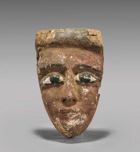 Egyptian Painted Wood Mummy Mask