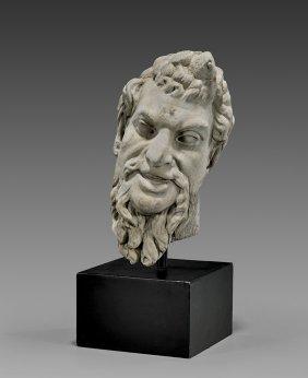Roman Carved Marble Satyr Head