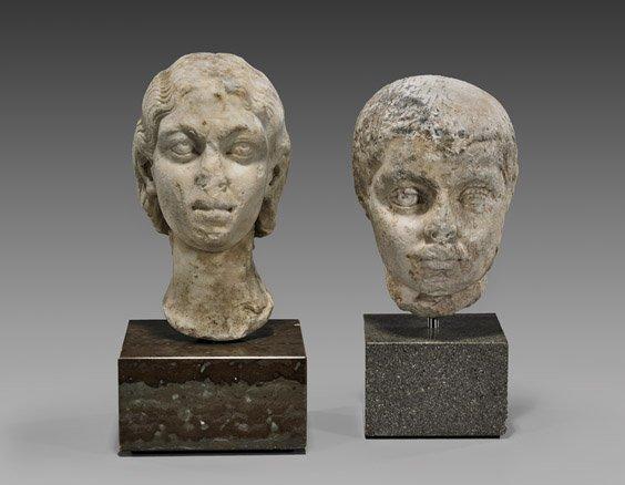TWO ROMAN MARBLE HEADS: Elagabalus & Wife