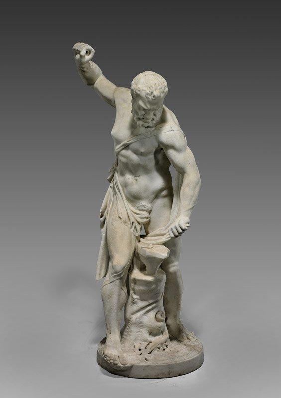 ANTIQUE CARVED MARBLE STATUE: Hephaestus