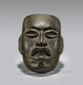 Small TeotihuacÁn Carved Green Stone Mask
