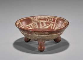 Pre-columbian-style Painted Tripod Bowl