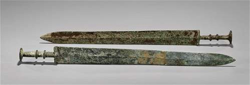 TWO WARRING STATES PERIOD BRONZE SWORDS