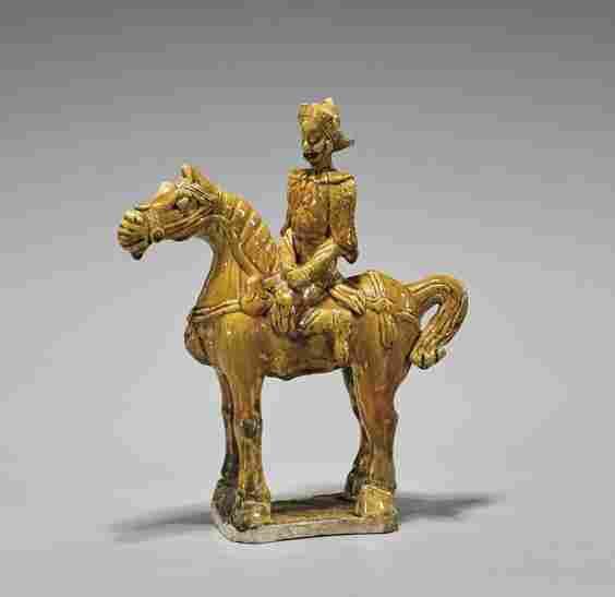 MING OCHRE GLAZED TILEWORKS FIGURE: Horse & Rider