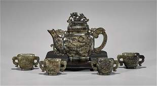 FIVE-PIECE CARVED MOTTLED JADE TEA SET