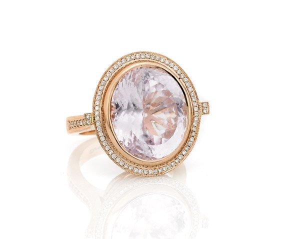 KUNZITE & DIAMOND ROSE GOLD RING