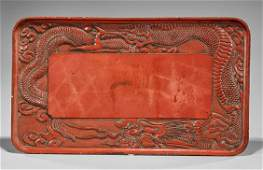 Large Antique Chinese Cinnabar Lacquer Tray