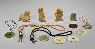 Thirteen Chinese JadeHardstone Carvings