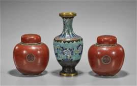 Three Chinese Cloisonné Enamel Vases