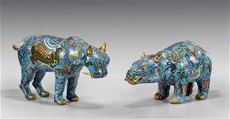 Two Large Chinese Cloisonné Animals