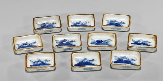 Ten Chinese Antique Blue & White Sauce Dishes