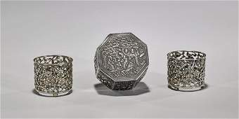 Three Antique Chinese Export Silver Items