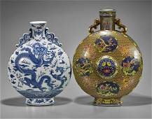 Two Large Qing-Style Porcelain Moonflasks
