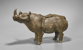 Large Archaistic Bronze Rhino Vessel