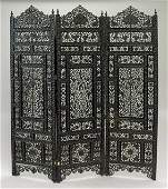 Large Indian Carved Wood 3-Panel Screen