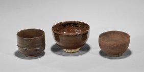 Three Antique Asian Ceramic Tea Bowls