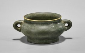Unusual Chinese Olive Green Censer