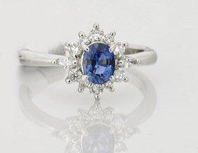 Ladies' Platinum, Diamond & Blue Sapphire Ring