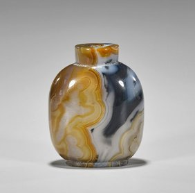 Large Carved Banded Agate Snuff Bottle