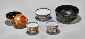 Five Antique Items: Lacquer & Porcelain