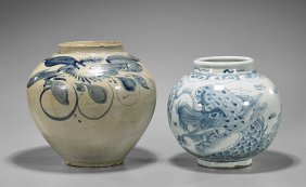 Two Antique Korean Blue & White Porcelain Vases