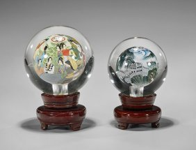 Two Large Chinese Inside Painted Glass Balls