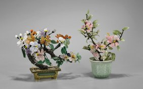 "Two Chinese Hardstone ""flowering"" Trees"