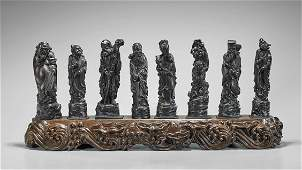 Set of Chinese Carved Wood Eight Immortals