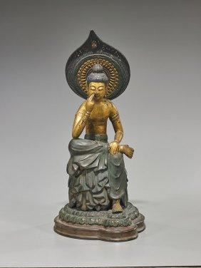 Antique Japanese Gilt Wood Bodhisattva