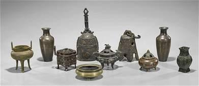 Ten Chinese  Japanese Bronze Items