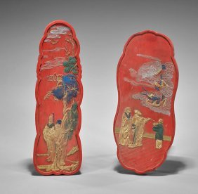 Two Chinese Gilt & Polychrome Red Inksticks