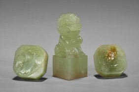 Three Carved Jade Seals: Lions & Phoenix
