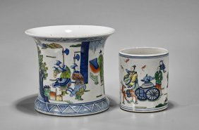 Two Guangxu-style Famille Verte Brushpots