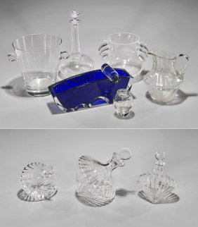 Nine Various Cut Glass Vessels