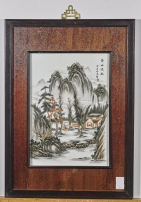 Three Chinese Enameled Porcelain Plaques