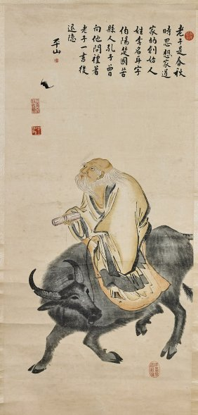 Two Chinese Paper Scrolls: Man & Beauty