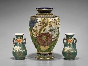 Three Old Japanese Satsuma Vases
