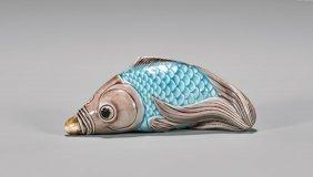 Antique Enameled Porcelain Snuff Bottle: Fish