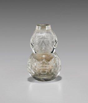 Carved Rock Crystal Gourd Snuff Bottle