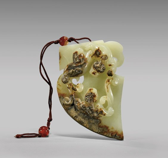 OLD ARCHAISTIC YELLOW JADE PLAQUE